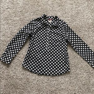 Merona black and white houndstooth blouse